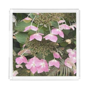 Pink Lacecap Hydrangea Floral Serving Tray