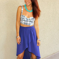 High-Low Sheer Skirt (Blue)