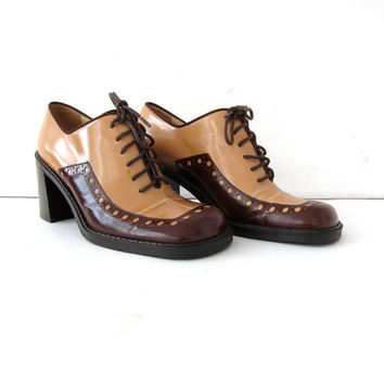 Vintage Dolce & Gabbana Oxfords. High Heel Oxfords. Italian Lace Up Shoes. Stacked Heel Shoes. Wing Tip Oxfords. Librarian Shoes.