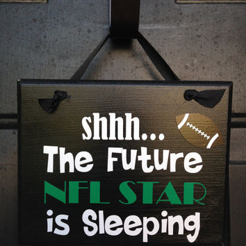 Future NFL Player Sleeping Door Sign Custom Door Sign Funny Boy's Room Door Sign Be Quiet Sleeping Sign Green Bay Packers Fan Door Sign