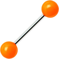 Orange Neon Barbell Tongue Ring | Body Candy Body Jewelry