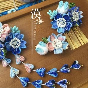 hand made hairpin cotton cloth hair clip barrettes Japanese style anime cosplay accessories free shipping sakura bunny blue