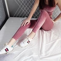 Women Fashion Simple Solid Color Concave Stripe High Waist Pencil Pants Velvet Tight Pants Trousers