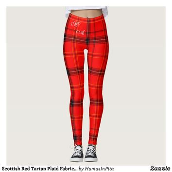 Scottish Red Tartan Plaid Fabric With Monogram Leggings