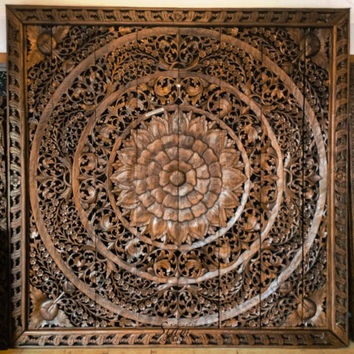 Large Carved Wood Panel. Teak Wood Wall Hanging Decorative. Balinese Lotus Flower. Oriental Home Decor. (8'x8' ft. Extra thick. Light brown)