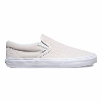 Vans Classic Slip On(Suede Checker)Blanc/Wht(W)