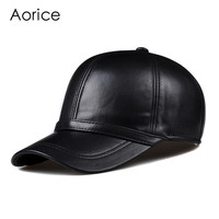 HL091  genuine leather man's baseball cap hat CBD high quality  men's real leather adult solid adjustable hats caps