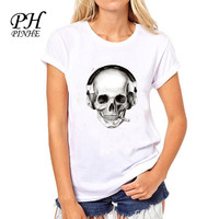 PH Design Brand clothing t shirt women Music SKull  Print Funny harajuku Funny T-Shirt Tops Slim O-neck Tee