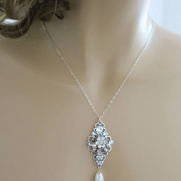 Crystal Bridal Necklace Swarovski White Pearl Wedding Necklace Bridal Jewelry Art Deco Sterling Silver Crystal Pearl Pendant Diamante Sukran