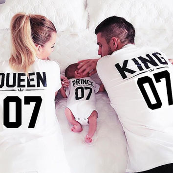 BKLD New 100% Cotton Matching T shirt King 07 Queen 07 Prince Princess Letter Print Shirts,Casual Men/Women Lovers Tops Newborn