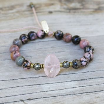 Rhodonite and Rose Quartz Adjustable Bracelet