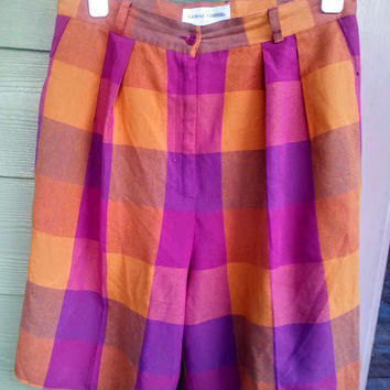Vintage 80s Preppy Madras Plaid Long High Rise Walking Shorts Size 8/10 M