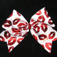 White Metallic Lips Cheer Bow by Justcheerbows on Etsy