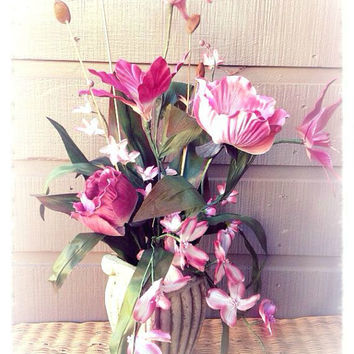 Shabby chic silk floral arrangement, with an antique vase, Beautiful shades of pink flowers, Sturdy antique vase. *Flowers make me smile*