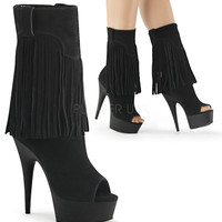 Delight 1057 Black Suede Pull On Fringe Ankle Boot With Open Toe