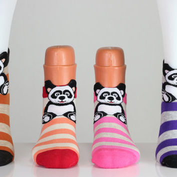 Striped Colorful Socks Panda Socks Teddy Bear Socks  3D Socks Funny Socks Funny Animal Sock Ankle Socks Cotton Socks Novelty Socks Fun Socks