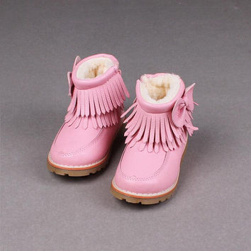 Snow Boots Kids Tassel Style Winter Shoes Thicken Plush Girls Flat Zip Bumper Toe Snow Boots Kids Quality Winter Shoes Childrens