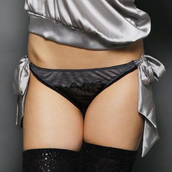 Tonni Silver Cloud grey jersey knit and silk Satin side Bow tie Knicker Panties