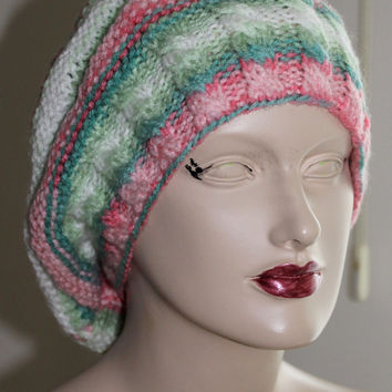 Hand Knitting White  Pink Green of Shades Women Hat / Slouchy  Women Hat /  Knitted Chunky Knit Accessory