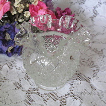 Fenton Olde Virginia Glass Vase Ruffled Crimped Edge Clear Glass