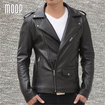 Black genuine leather biker jacket coat men cow leather motorcycle jackets chaqueta moto hombre veste cuir homme cappotto LT1275