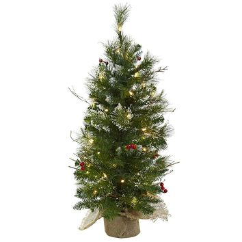 Artificial Silk Tree -3 Ft Christmas Tree With Clear Lights Berries & Burlap Bag