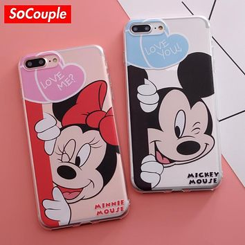 Ultrathin Soft TPU Case for iphone 5s 5 SE 6 6s 6plus 7 7plus Cartoon Mickey Mouse Minnie Duck Pig Dogpattern Phone Case