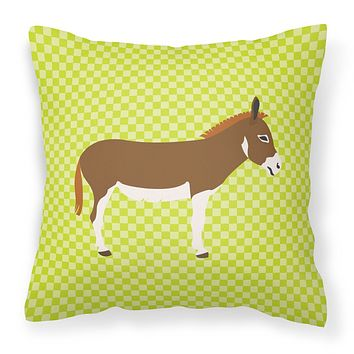 Miniature Mediterranian Donkey Green Fabric Decorative Pillow BB7673PW1414