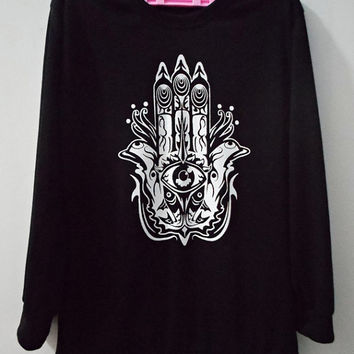 HAMSA HAND Sweatshirt Clothing Hand of Fatima Sweater For Unisex Style Long Sleeve Men,Women Size M,L
