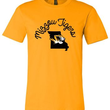 Official NCAA University of Missouri Tigers Mizzou Tigers MU Women's Unisex T-Shirt - MO-2