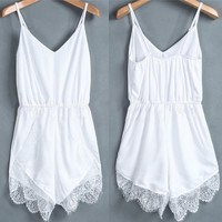 Amazon.com: Women Lace Chiffon Sleeveless Jumpsuit Rompers Party Playsuit Dresses