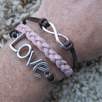 Made in the USA -  Valentines Love and Karma Infinity Pink and Brown Friendship Charm Bracelet