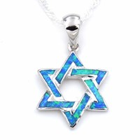 Star of David Opal Pendant Necklace