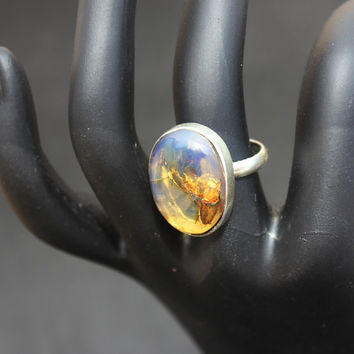 Dominican Blue Crystal Clear Amber Oval Ring Sterling Silver 925 authentic large antique boho purple Caribbean fossil 4.3g 21.5ct Size 7.75