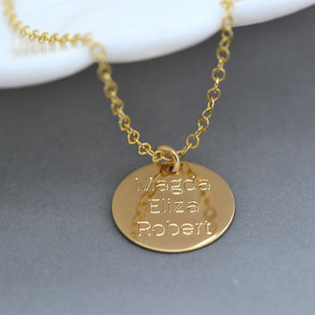 Personalized Disc Necklace / Name Necklace / Large Disc Necklace / Circle Pendant on Gold Fill, Sterling Silver, Rose Gold Fill Chain