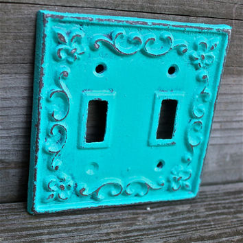 Decorative, Fleur De Lis, Teal Blue Light Switch Cover by AquaXpressions... Bright Shabby Chic Decor by Aqua Xpressions