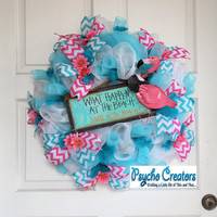 Summer Mesh Wreath - Blue Beach Party Wreath - Pink Flamingo Wreath - Pool Wreath