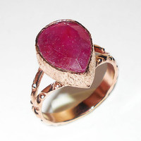 Ruby Ring - Red Corundum Ring - Handmade Ring - Pear Shape Stone Ring - Rose Gold Plated Ring - Bezel Setting Ring - Ruby Corundum Ring