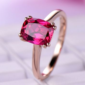 Cushion Ruby Engagement Ring 14K Rose Gold 7x9mm