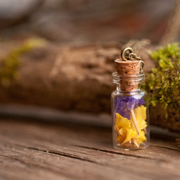 Dried flowers necklace, nature necklace, yellow  necklace, purple necklace, flower pendant, antique brass necklace, glass vial necklace