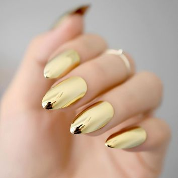 Metallic Mirror Bright Gold False Stilettos Nail Yellow Golden Metal Oval Stiletto Sharp Fake Nails Manicure Full Nails Art Tips