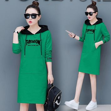 2018 Autumn And Winter New Women Hoodies Plus Velvet Thick Hedging Dress Long Embroidered Letters Fashion Hoodies NS4088