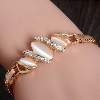 Free Shipping 1pc Women Gold Filled Shine Austrian Crystal Bracelets & Bangles Women Opal Bracelet Gift TL227