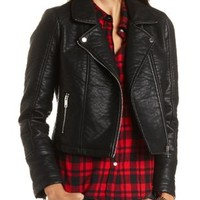Faux Leather Moto Jacket by Charlotte Russe - Black