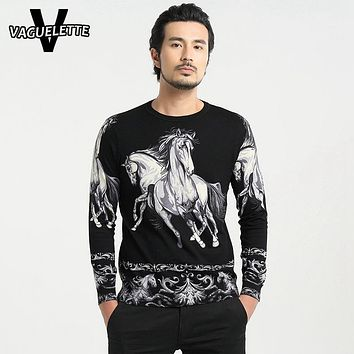 Casual Oversized Pull Homme Luxury Printed Horse Pattern Brand Clothing Knitted Cotton Thin Round Neck Men Sweater M-4XL
