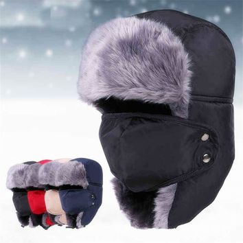 JUN JUN.W Winter Thermal Hunting Caps Trooper Trapper Hat Hiking Russian Hat Ear Flap With Windproof Mask Bomber