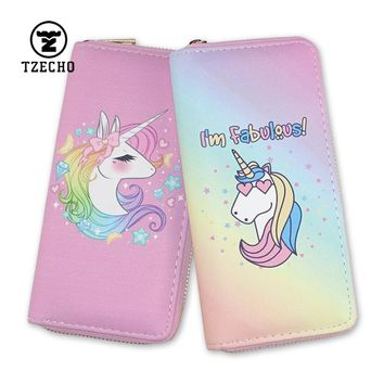 TZECHO Women's Wallets PU Leather Prints Animal Cartoon Unicorn Ladies Clutch Zipper Coins Purses Long Rfid Credit Card for Gift