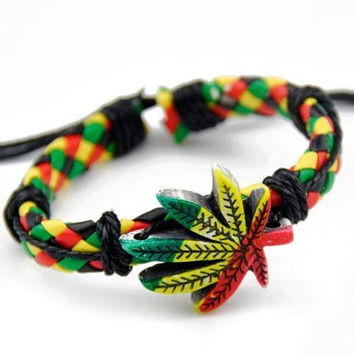 Classic Marijuana leaves Rasta Hemp Wrap Leather Charm Bracelet