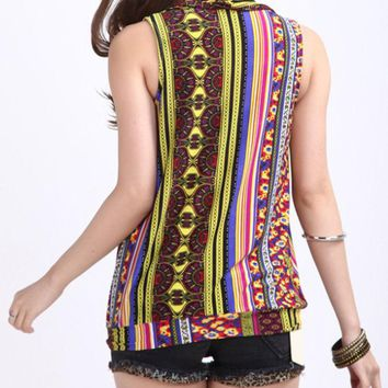 Casual V-Neck Tribal Printed Vertical Striped Sleeveless T-Shirt