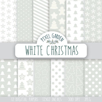 White Christmas Digital Paper Pack, Snowflakes Scrapbooking Paper, Digital Clip Art, Silver and White Printable Paper.